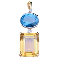 Heavy Large Vintage Estate 14k Gold Diamond Citrine Blue Topaz Gemstone Pendant