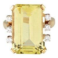 Vintage 18k Gold Helidor Yellow Beryl Diamond Cocktail Ring