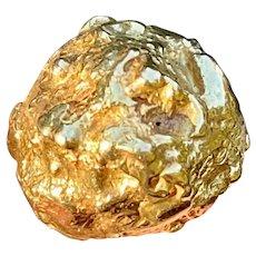 Retro Vintage 18k Gold David Webb Large Heavy Nugget Freeform Organic Statement Ring