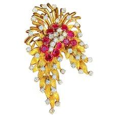 "Stunning Vintage""DES EN FRANCE"" French 18k Gold Ruby VS Diamond Pendant Brooch"