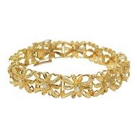 Vintage Estate 18k Gold 25g Openwork Floral Motif Diamond Bracelet