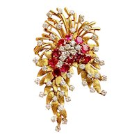 "Stunning Vintage ""DES EN FRANCE"" French 18k Gold Ruby VS Diamond Pendant Brooch"