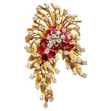 "Stunning Vintage ""DES EN FRANCE"" French 18k Gold Ruby VS Diamond Pendant Brooch"