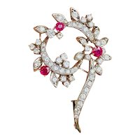 Vintage Estate 18k Gold 2.76 Carat Diamond Ruby Brooch Pin Pendant