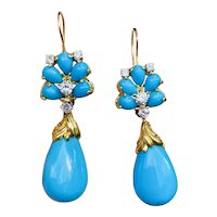 Vintage Estate Mid Century 1970s 18k Yellow Gold Turquoise .80ctw Diamond Drop Dangle Earrings