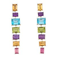 Estate Vintage 18k Gold Eli Frei Designer Citrine Peridot Topaz Tourmaline Amethyst Gemstone Dangle Earrings