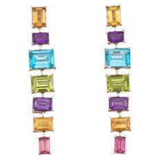Estate Vintage 18k Gold Eli Frei Designer Citrine Peridot Topaz Tourmaline Amethyst Gemstone Dangle Earrings