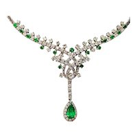 Impressive Vintage 18k Gold 6.50ct Diamond Halo Pear Emerald Pendant Necklace