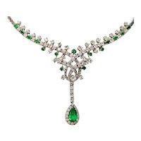 Impressive Vintage 18k Gold 6.50ct Diamond Halo Pear Emerald Pendant Necklace