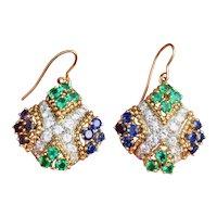 Striking Vintage Estate 3.80ct VS Diamond Emerald Sapphire Earrings