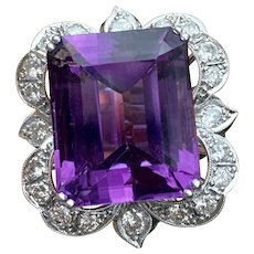Large Vintage Estate 18k Gold Amethyst Diamond Cocktail Statement Ring