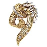 Stunning 18k Gold Retro French 1.16 ctw VS Diamond Brooch / Pin / Pendant for Necklace