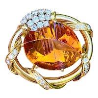 Vintage HAMMERMAN Bros. 18k Gold 20ct Diamond Amber Citrine Pin Brooch Pendant