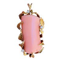 Impressive Vintage Estate 18k Gold 50ct Salmon Pink Diamond Necklace Pendant Slide