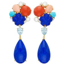 Impressive Estate 18kt Gold Lapis Coral Turquoise Aquamarine Pearl Diamond Pendant Earrings