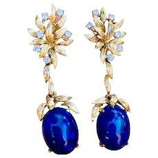 Stunning Vintage Estate 18k Gold Diamond Lapis Pendant Dangle Drop Earrings