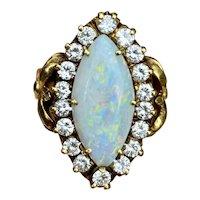 Vintage Estate La Triomphe 18k Gold Marquise Opal VS Diamond Halo Navette Cocktail Ring