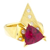 Vintage Modernist Retro 18k 3.43ct Pink Rubellite Diamond Cocktail Ring