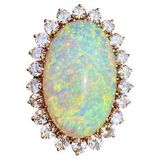 Stunning Estate 18kt Gold 18ct Opal 1.40ct Diamond Halo Ballerina Ring