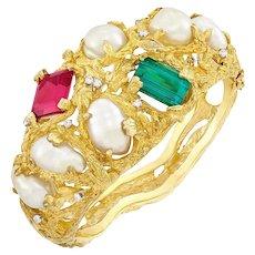 Impressive 18k Gold, Baroque Pearl Pink Green Tourmaline Diamond Cuff Bangle Bracelet