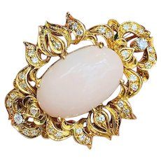 Vintage Midcentury 18k Yellow Gold Angel Skin Coral Cabachon Diamond Brooch