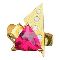 Vintage Modernist Retro 18k 3.43ct Pink Rubellite Diamond Cocktail Ring