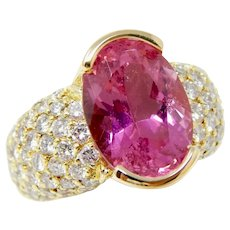 Stunning Vintage Estate Pink Tourmaline 2.50ct Diamond Cocktail Ring