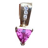 Vintage Estate 14K Gold Trillion Cut Pink Tourmaline Diamond Pendant for Necklace