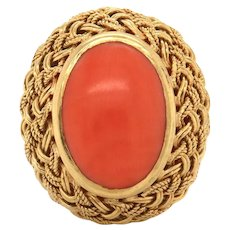 Vintage Estate 18k Gold Natural Red Coral Braided Oval Bezel Ring