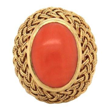 Vintage Estate 18k Gold Natural Red Coral Braided Oval Bezel Ring