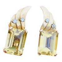 Vintage 1950s Retro Estate 18k Gold Emerald Cut Citrine Diamond Gemstone Earrings