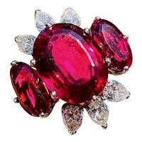 Impressive Estate 18k Gold 10.5ct Rubellite Red Pink Tourmaline Diamond Statement Ring