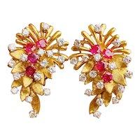 "Stunning Vintage""DES EN FRANCE"" French 18k Gold Ruby VS Diamond Earrings / Earclips"