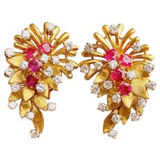 "Stunning Vintage""DES EN FRANCE"" French 18k Gold Ruby VS Diamond Earrings / Earclips"