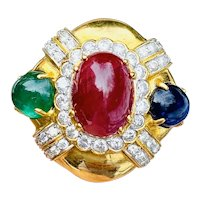 Heavy Vintage Estate 18k Gold Ruby VS Diamond Sapphire Ruby Emerald Ring