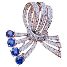 Stunning Vintage Estate 18k Gold 4.85 ct Blue Sapphire Diamond Brooch Pendant Pin