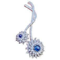 Impressive Vintage 1950s 18k Gold Platinum 6.50ctw Diamond Blue Sapphire Large Flower Brooch