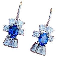 Stunning Important Estate 18k White Gold Royal Blue Sapphire VS F Diamond Drop Dangle Earrings