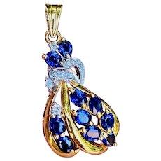 Vintage Estate 18k Gold 2.00ct Diamond Blue Sapphire Retro Pendant
