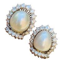 Striking 18k Gold Vintage South Sea Pearl 2.20ct VS Diamond Drop Earrings