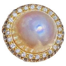 Striking Vintage Estate 18k Yellow Gold Diamond South Sea Pearl Ring