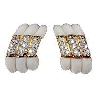 Vintage Estate 18k Gold Designer Tallarico 2.50 ct Diamond White Chalcedony Clip Earrings
