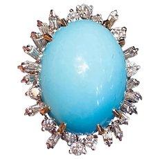 Large Vintage Estate 18k Gold 22ct Turquoise Cabachon Diamond Brilliant Baguette Ballerina Ring