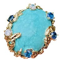 Vintage Retro 1950s 60s Estate 18k Gold 20ct Natural Turquoise Blue Sapphire Diamond Cocktail Ring