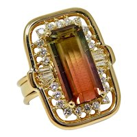 Stunning Vintage Retro 18k Gold Watermelon Colored Green Pink Tourmaline Diamond Ring