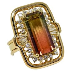 Stunning Vintage Retro 18k Gold Watermelon Colored Green Pink Tourmaline Diamond Ring