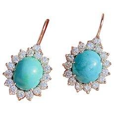 Vintage Estate 18k Gold 1.50ct Diamond Halo Turquoise Drop Dangle Earrings