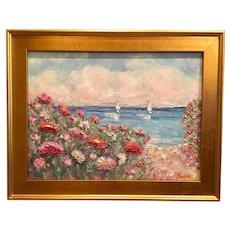 """Impressions: Seascape with Sailboats"", Original Oil Painting by artist Sarah Kadlic, 18x24"" Gilt Leaf Wood Frame"