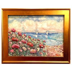 """Impressions: Seascape with Sailboats"", Original Oil Painting by artist Sarah Kadlic, 18x24"" Gilt Leaf Wood Frame"