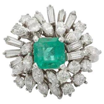 Stunning 14k Gold Mid Century 1950s Retro 4.50ct Emerald VS Diamond Ring
